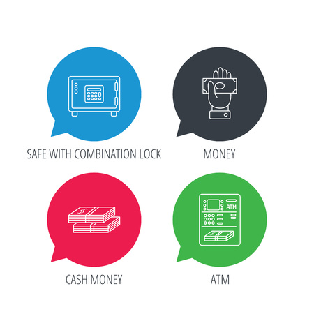 give money: Colored speech bubbles. Give money, cash money and ATM icons. Safe box linear sign. Flat web buttons with linear icons. Vector