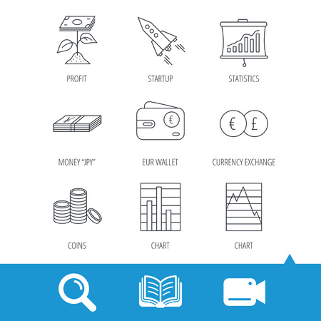 deceleration: Profit investment, cash money and startup rocket icons. Wallet, currency exchange and euro linear signs. Chart, coins and statistics icons. Video cam, book and magnifier search icons. Vector Illustration