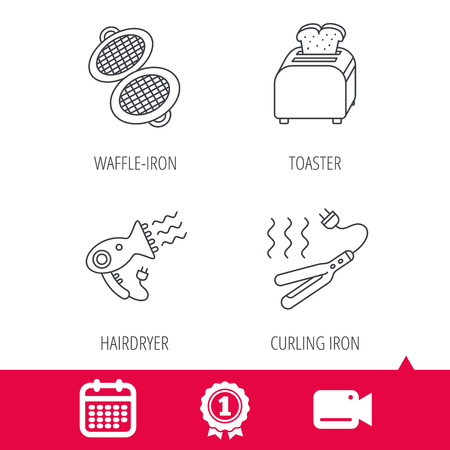 bread maker: Achievement and video cam signs. Curling iron, hair-dryer and toaster icons. Waffle-iron linear sign. Calendar icon. Vector