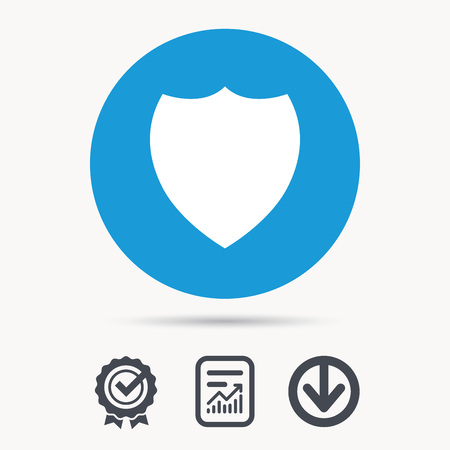 Shield protection icon. Defense equipment symbol. Achievement check, download and report file signs. Circle button with web icon. Vector