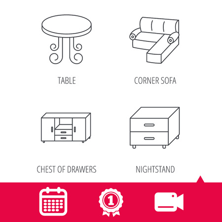 date night: Achievement and video cam signs. Corner sofa, table and nightstand icons. Chest of drawers linear sign. Calendar icon. Vector