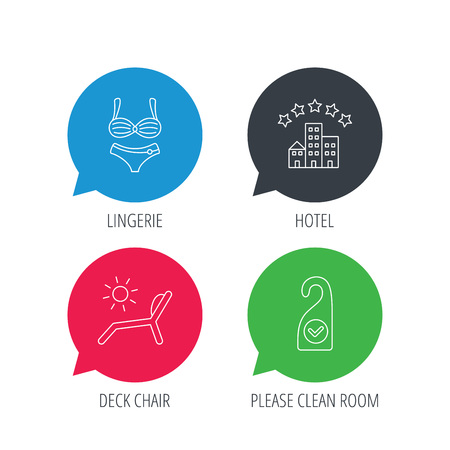chat room: Colored speech bubbles. Hotel, lingerie and beach deck chair icons. Clean room linear sign. Flat web buttons with linear icons. Vector Illustration