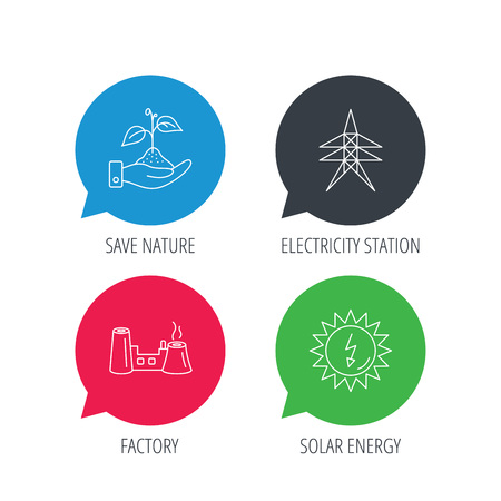 power icon: Colored speech bubbles. Electricity station, factory and solar energy icons. Save nature linear sign. Flat web buttons with linear icons. Vector