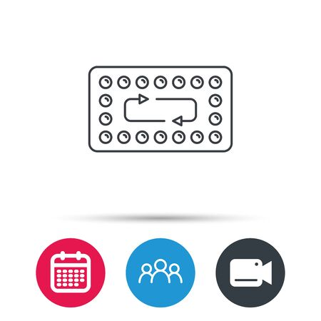 contraception: Contraception pills icon. Pharmacology drugs sign. Group of people, video cam and calendar icons. Vector