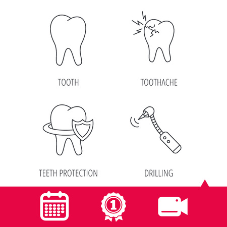 toothache: Achievement and video cam signs. Tooth, toothache and drilling tool icons. Teeth protection linear sign. Calendar icon. Vector Illustration