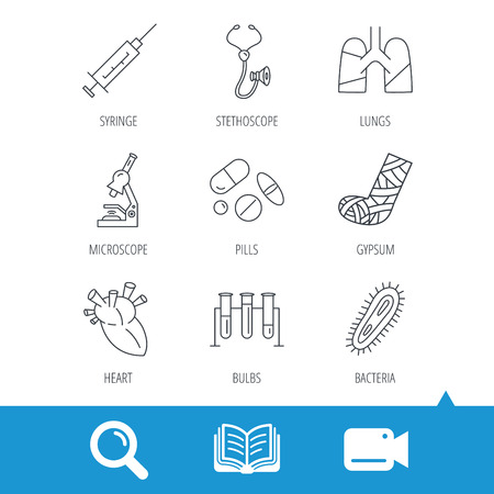 bacteria microscope: Broken foot, lungs and syringe icons. Stethoscope, pills and microscope linear signs. Bacteria, heart and lab bulbs flat line icons. Video cam, book and magnifier search icons. Vector