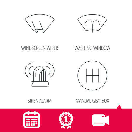 Achievement and video cam signs. Manual gearbox, siren alarm and washing window icons. Windscreen wiper linear sign. Calendar icon. Vector