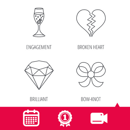 brilliant heart: Achievement and video cam signs. Broken heart, brilliant and engagement ring icons. Bow-knot linear sign. Calendar icon. Vector Illustration