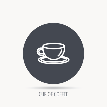 decaf: Coffee cup icon. Tea or hot drink sign. Round web button with flat icon. Vector Illustration