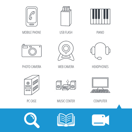 pc case: Photo camera, headphones and Usb flash icons. PC case, computer with monitor and web camera linear signs. Piano icons. Video cam, book and magnifier search icons. Vector