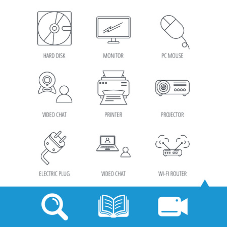computer instruction: Monitor, printer and wi-fi router icons. Video chat, electric plug and pc mouse linear signs. Projector, hard disk icons. Video cam, book and magnifier search icons. Vector