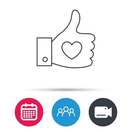 date validate: Thumb up like icon. Super cool vote sign. Social media symbol. Group of people, video cam and calendar icons. Vector