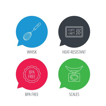 bpa: Colored speech bubbles. Kitchen scales, whisk and heat-resistant icons. BPA free linear sign. Flat web buttons with linear icons. Vector