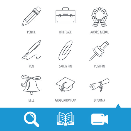 grand prix: Graduation cap, pencil and diploma icons. Award medal, briefcase and bell linear signs. Pen, safety pin icons. Video cam, book and magnifier search icons. Vector