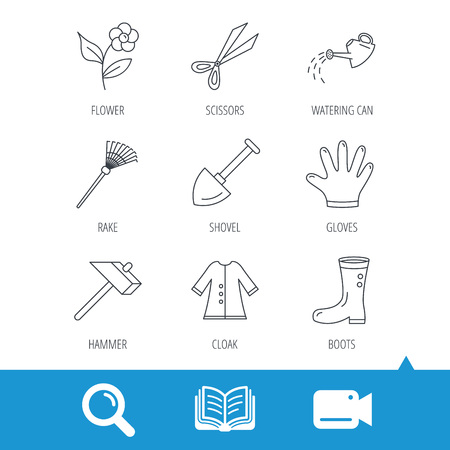 biology instruction: Scissors, hammer and gloves icons. Shovel, watering can and rake linear signs. Cloak, boots and flower flat line icons. Video cam, book and magnifier search icons. Vector Illustration
