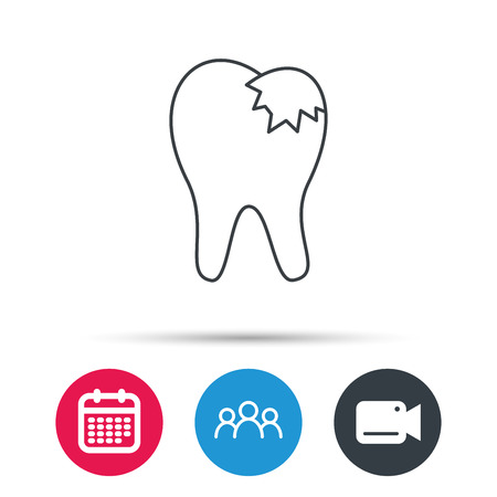 restoration: Dental fillings icon. Tooth restoration sign. Group of people, video cam and calendar icons. Vector