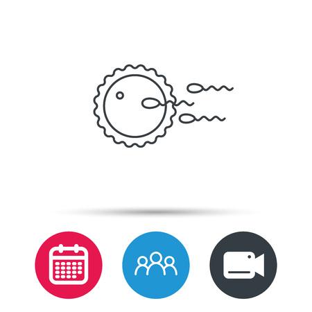 Familienplanungsikone. Düngungszeichen. Gruppe von Personen, Videokamera und Kalenderikonen. Vektor Vektorgrafik