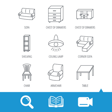 shelving: Corner sofa, table and armchair icons. Chair, ceiling lamp and chest of drawers linear signs. Shelving, furniture flat line icons. Video cam, book and magnifier search icons. Vector