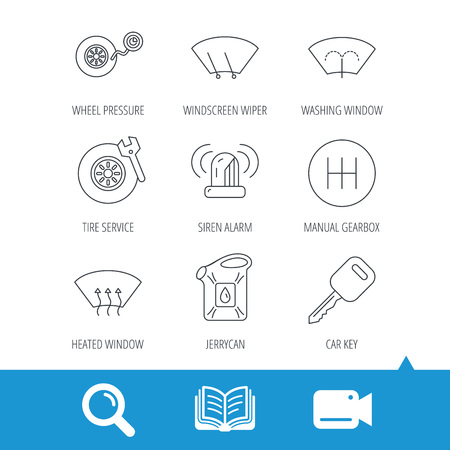 Manual gearbox, tire service and car key icons. Siren alarm, jerrycan and wheel pressure linear signs. Window washing, wiper and heated icons. Video cam, book and magnifier search icons. Vector
