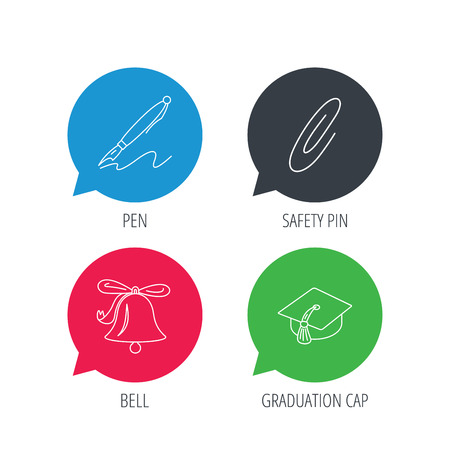 first year student: Colored speech bubbles. Graduation cap, pen and bell icons. Safety pin linear signs. Flat web buttons with linear icons. Vector