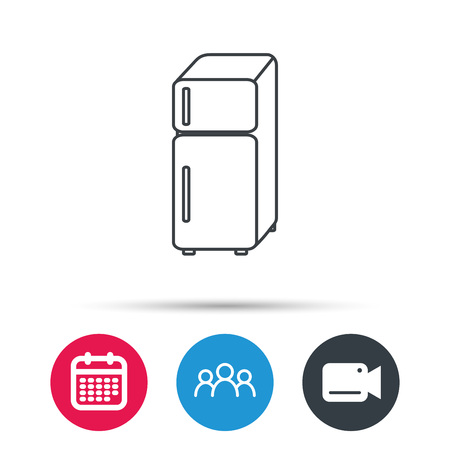 frig: Refrigerator icon. Fridge sign. Group of people, video cam and calendar icons. Vector Illustration