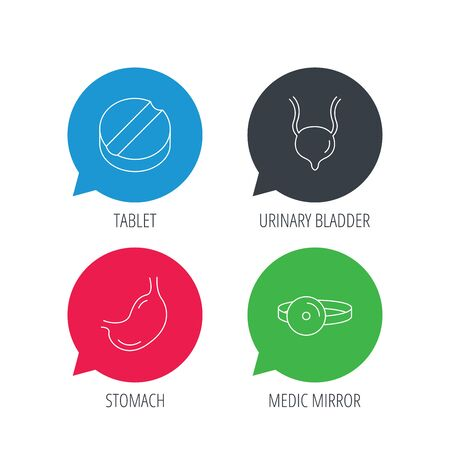 analyses: Colored speech bubbles. Medical mirror, tablet and stomach organ icons. Urinary bladder linear sign. Flat web buttons with linear icons. Vector