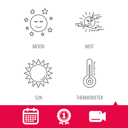 date night: Achievement and video cam signs. Thermometer, sun and mist icons. Moon night linear sign. Calendar icon. Vector