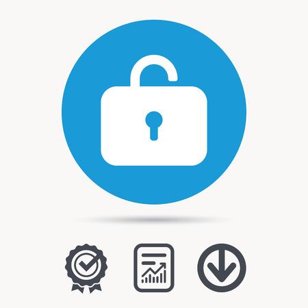 private access: Lock icon. Privacy locker sign. Private access symbol. Achievement check, download and report file signs. Circle button with web icon. Vector