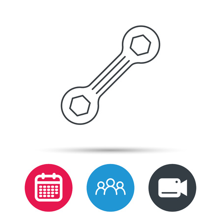 repairing: Spanner tool icon. Repairing service sign. Group of people, video cam and calendar icons. Vector
