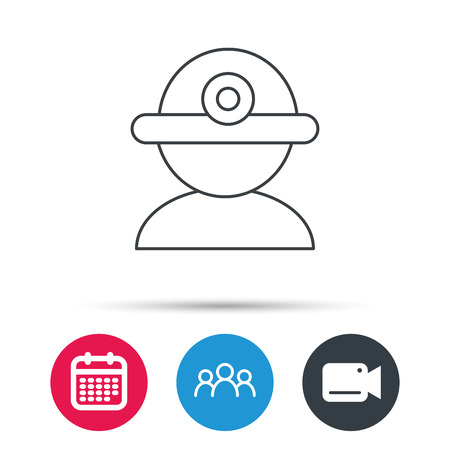 industrialist: Worker icon. Engineering helmet sign. Group of people, video cam and calendar icons. Vector Illustration