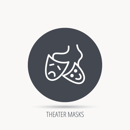 masquerade masks: Theater masks icon. Drama and comedy sign. Masquerade or carnival symbol. Round web button with flat icon. Vector