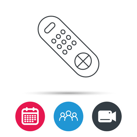 switching: Remote control icon. TV switching channels sign. Group of people, video cam and calendar icons. Vector Illustration