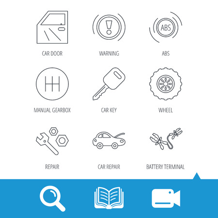 Car key, repair tools and manual gearbox icons. Wheel, warning ABS and battery terminal linear signs. Video cam, book and magnifier search icons. Vector Illustration