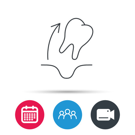 tooth extraction: Tooth extraction icon. Dental paradontosis sign. Group of people, video cam and calendar icons. Vector
