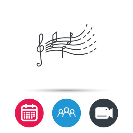 songs: Songs for kids icon. Musical notes, melody sign. G-clef symbol. Group of people, video cam and calendar icons. Vector