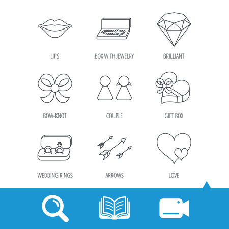 kiss lips: Love heart, gift box and wedding rings icons. Kiss lips and couple linear signs. Valentine amour arrows, brilliant flat line icons. Video cam, book and magnifier search icons. Vector