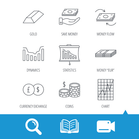 deceleration: Banking, cash money and statistics icons. Money flow, gold bar and dollar usd linear signs. Dynamics chart, coins and savings icons. Video cam, book and magnifier search icons. Vector Illustration