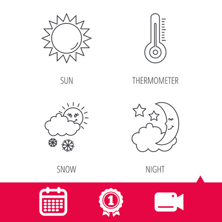 date night: Achievement and video cam signs. Thermometer, sun and snow icons. Moon night linear sign. Calendar icon. Vector
