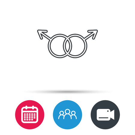Gay couple icon. Homosexual sign. Group of people, video cam and calendar icons. Vector Illustration