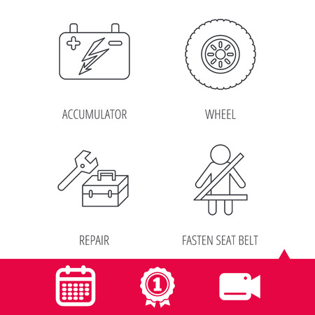 fasten: Achievement and video cam signs. Accumulator, wheel and car service icons. Repair toolbox, fasten seat belt linear signs. Calendar icon. Vector