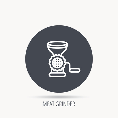 meat  grinder: Meat grinder icon. Manual mincer sign. Kitchen tool symbol. Round web button with flat icon. Vector Illustration