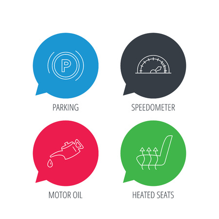 heated: Colored speech bubbles. Motor oil, parking and speedometer icons. Heated seats linear sign. Flat web buttons with linear icons. Vector