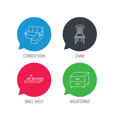 chat room: Colored speech bubbles. Corner sofa, nightstand and chair icons. Wall shelf linear sign. Flat web buttons with linear icons. Vector Illustration