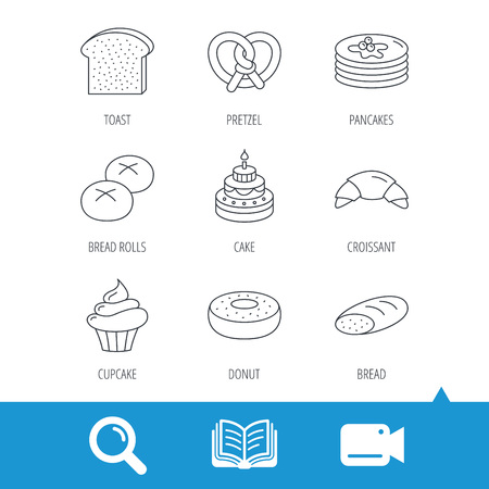 open sandwich: Croissant, pretzel and bread icons. Cupcake, cake and sweet donut linear signs. Pancakes, toast and bread rolls flat line icons. Video cam, book and magnifier search icons. Vector