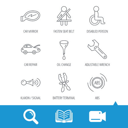 tool belt: Car mirror repair, oil change and wrench tool icons. ABS, klaxon signal and fasten seat belt linear signs. Disabled person icons. Video cam, book and magnifier search icons. Vector Illustration