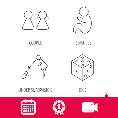 supervision: Achievement and video cam signs. Couple, paediatrics and dice icons. Under supervision linear sign. Calendar icon. Vector