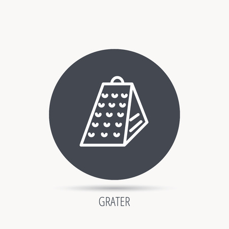 grated cheese: Grater icon. Kitchen tool sign. Kitchenware slicer symbol. Round web button with flat icon. Vector Illustration