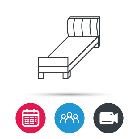 date night: Single bed icon. Bedroom furniture sign. Group of people, video cam and calendar icons. Vector
