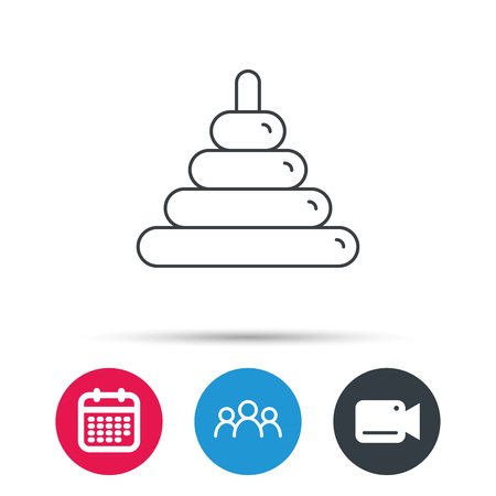 play date: Pyramid baby toy icon. Child tower game sign symbol. Group of people, video cam and calendar icons. Vector Illustration