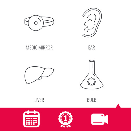 analyses: Achievement and video cam signs. Lab bulb, medical mirror and liver organ icons. Ear linear sign. Calendar icon. Vector